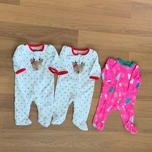 Set of three Newborn Footies